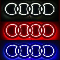Newest Design 4D Stylish LED logo decoration Badge Emblem Light for Audi Q3 Q5 A3 A4 A6 ( Red/White/Blue option )