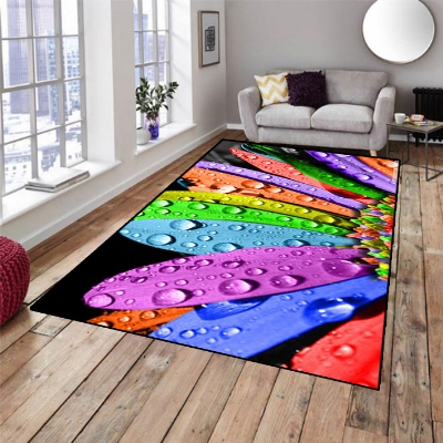 Else Green Purple Blue Orange Leaves 3d Pattern Print Non Slip Microfiber Living Room Decorative Modern Washable Area Rug Mat