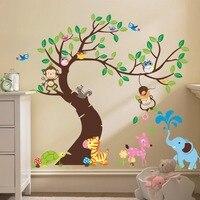 Monkey Owl Horse Animals Tree Cartoon Wall Sticker For Kids Room Home Decor DIY Child Large