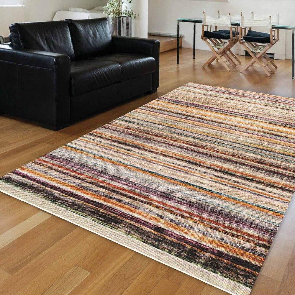 Else Brown Blue Orange Black Lines Geometrics Vintage  3d Print Anti Slip Kilim Washable Decorative Area Rug Bohemian Carpet