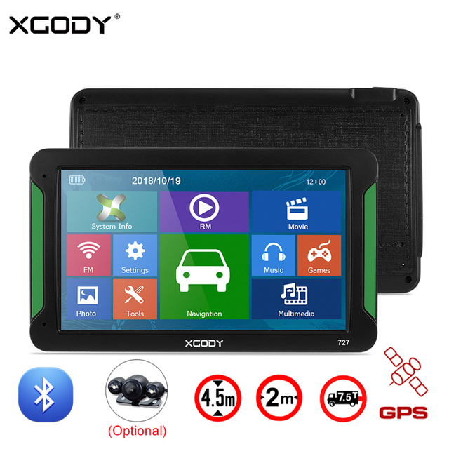 XGODY 7 Inch Car GPS Navigation Bluetooth Touch Screen 8GB Rear Camera Sat Nav Truck Navigator GPS Auto Navitel Europe 2018 Map