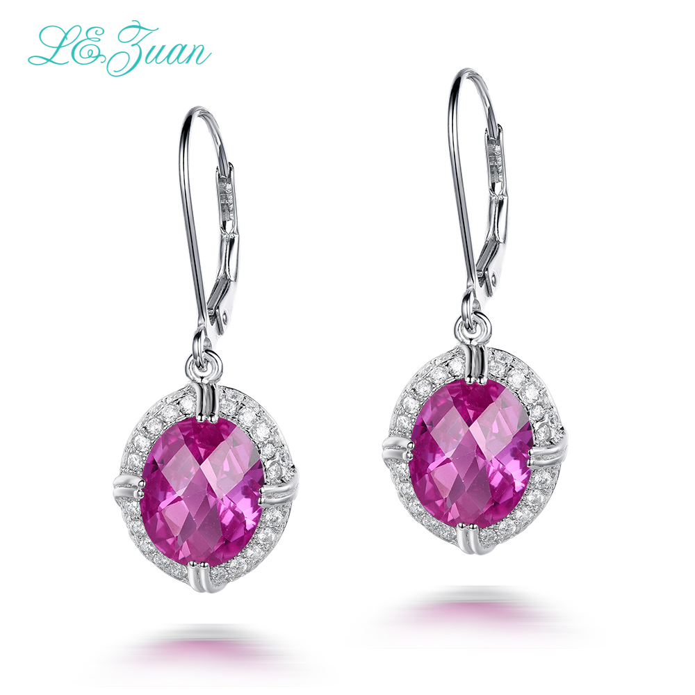L zuan Real 925 Sterling Silver Jewelry Drop Earrings For Women 6 7ct Pink Stone Cluster