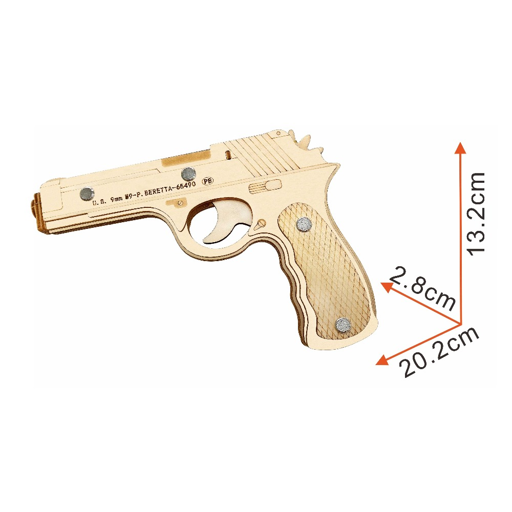 Beretta M9 Rubber Band Pistol wooden toys Wooden Shooting Toy Guns Boys Outdoor Fun Sports For Kids