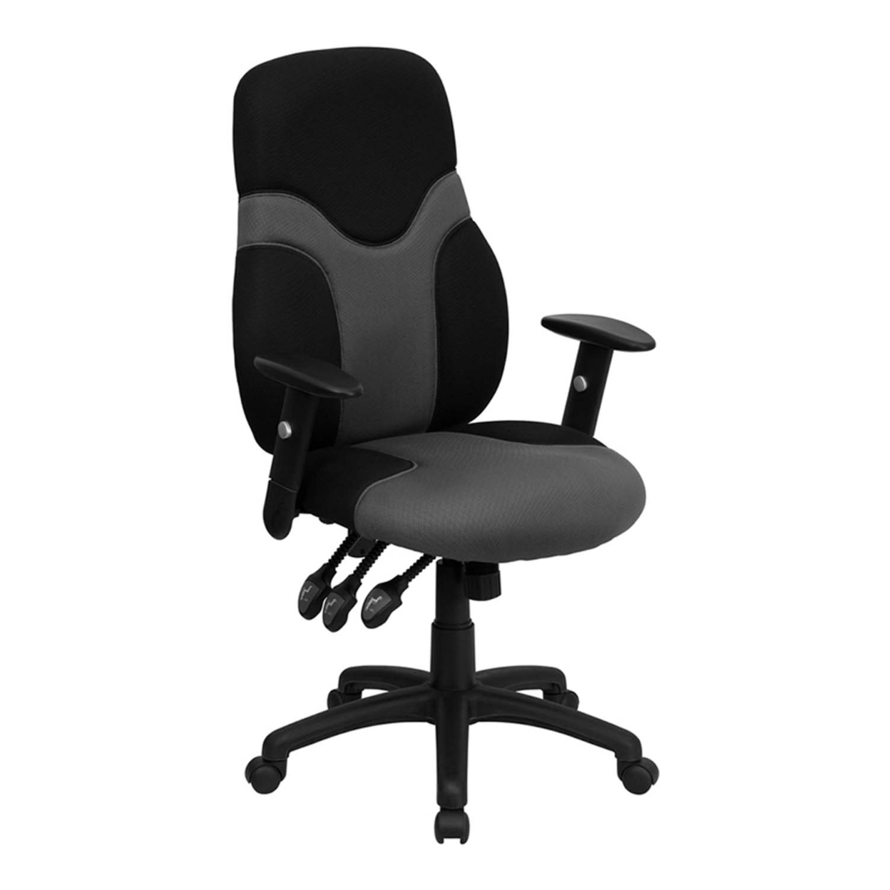 Flash Furniture High Back Ergonomic Black and Gray Mesh Task Chair with Adjustable Arms [863-BT-6001-GYBK-GG] alfani new black women s size small s mesh back high low ribbed blouse $59 259