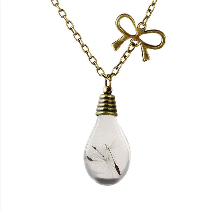 Hot Sale Bow Dandelion Bottles Glow Pendant Necklace Dandelion Seeds Glass Necklace Charming Jewelry