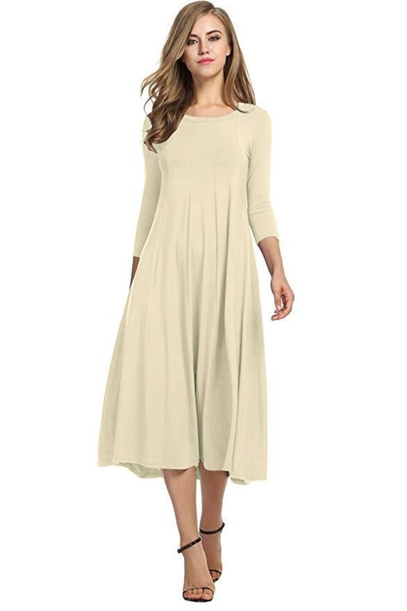Fashion Spring Soft Cotton High Quality Casual A Line Women Dress Solid Three Quarter Sleeve O Neck Large Pendulum Midi Dress