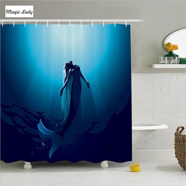 Shower Curtain Little Mermaid Bathroom Accessories Creature Fish Tail Deep Water Sunlight Ocean Blue Home Decor