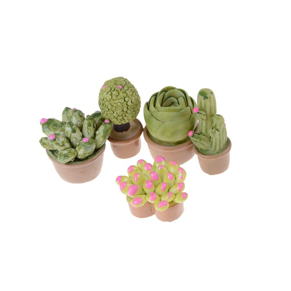 1:12 Mini Miniature Green Plant In Pot For Dollhouse Furniture Decoration Home Decor Succulent plants Pretend Garden Play Toys