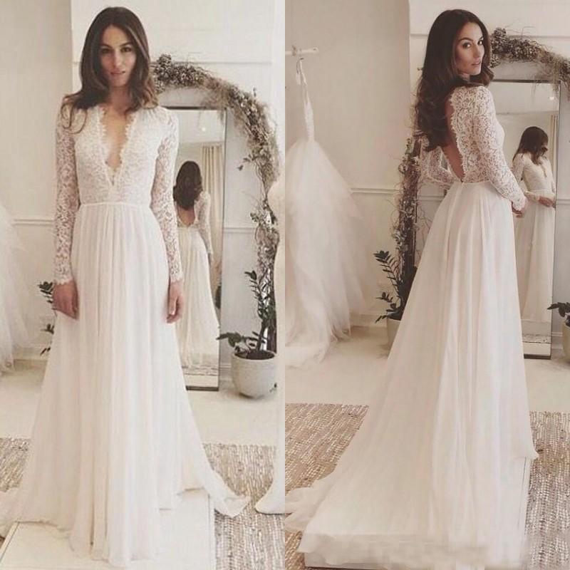 Boho Wedding Dresses: 2019 Chic Long Sleeve Boho Wedding Dress Lace Chiffon