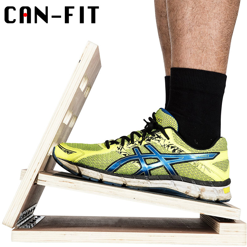 Split Pedal Stability Chair With Handles: Wooden Slant Balance Board, Adjustable Ankle Incline GYM