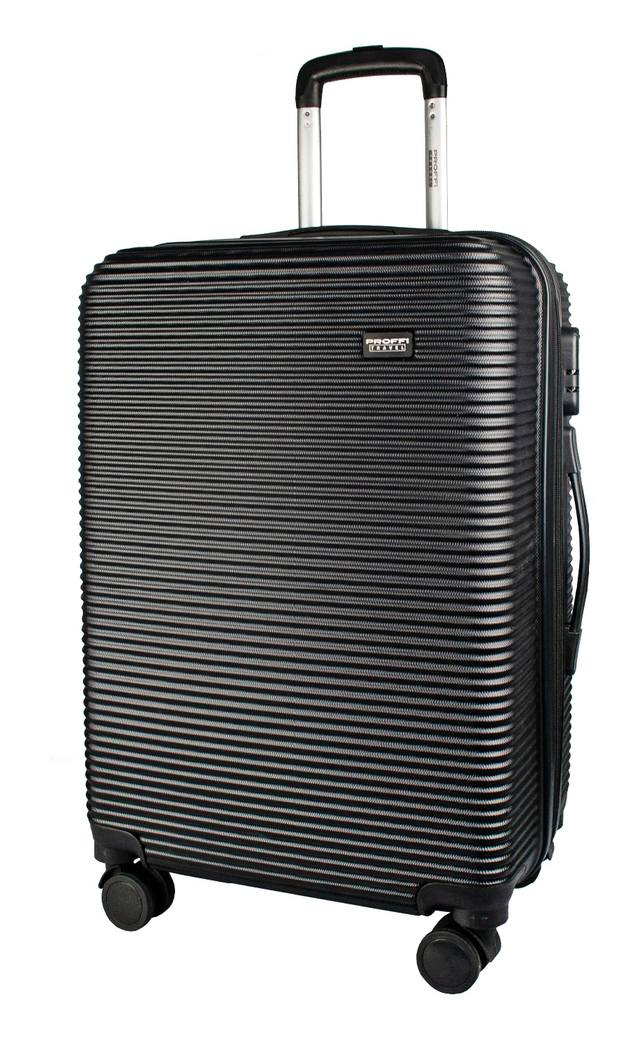 Plastic suitcase PROFFI TRAVEL PH9531black on wheels, M, with built-in weights