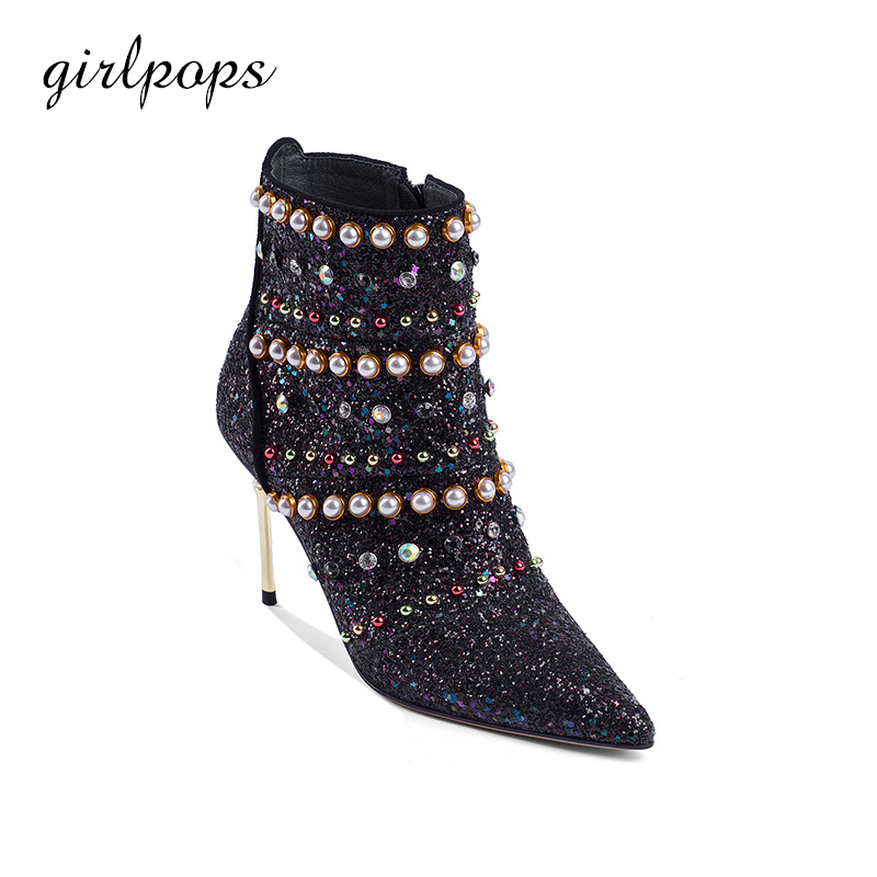 Fashion Women Shoes Spring Ankle Boots Supper Thin High Heels Zip Black Pointed Toe Zapatos Mujer 2018 famiao women boots sexy high heel zapatos mujer tacon 2017 gary black buckle ankle boots for women shoes pointed toe winter