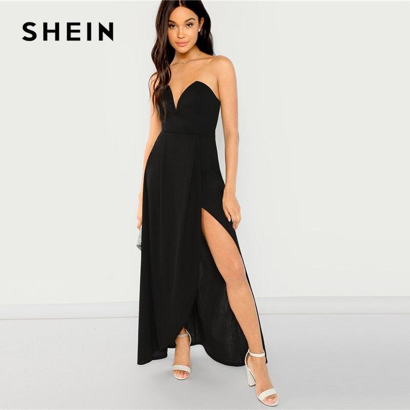 SHEIN черное платье-бандо с открытыми плечами с разрезом, вечерние, сексуальные, простые, узкие Макси-платья, женское осеннее, современное элег...
