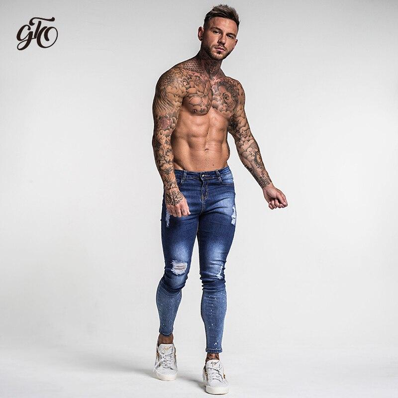 Dark Blue Ripped Jeans For Men  1
