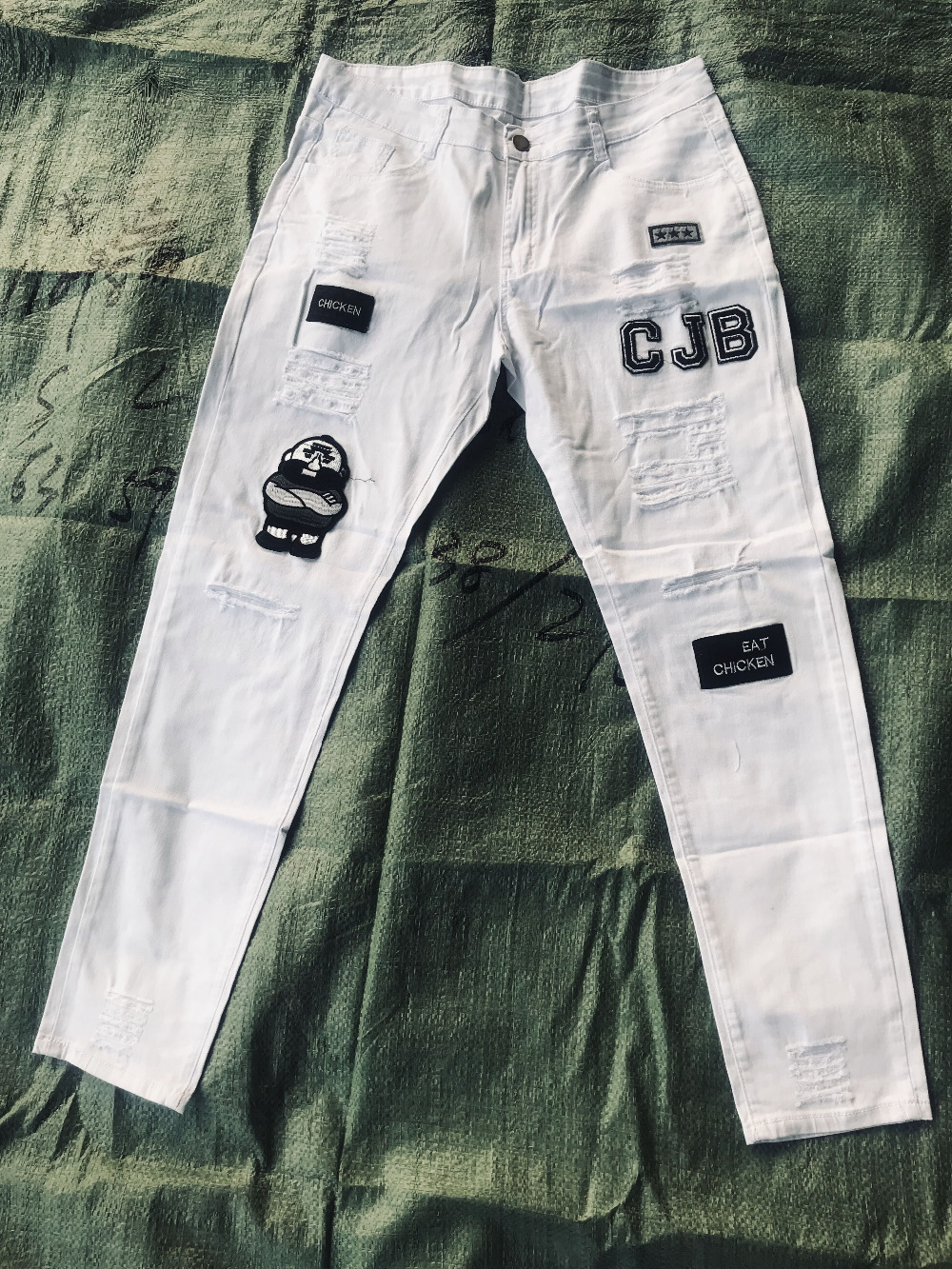Мужчины's мода старинные разорвал джинсы супер тощий slim fit молнии джинсовые брюки уничтожено потертые брюки мультфильм готический стиль брюки