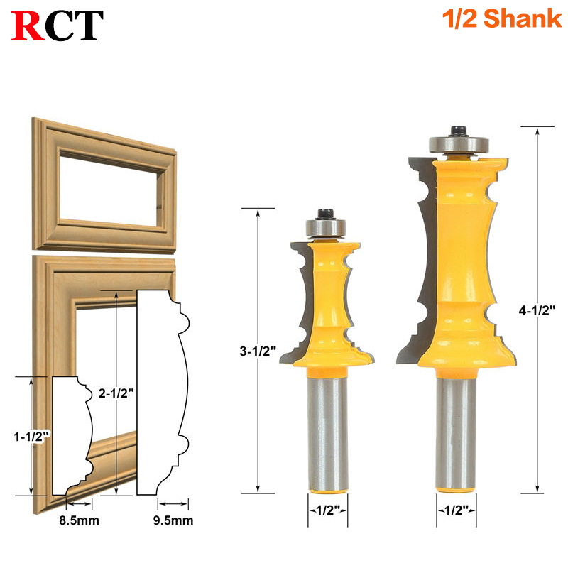 Mitered Door & Drawer Molding 2 Bit Router Bit Set 1/2 Shank Line knife Woodworking cutter Tenon Cutter for Woodworking Tools high grade carbide alloy 1 2 shank 2 1 4 dia bottom cleaning router bit woodworking milling cutter for mdf wood 55mm mayitr