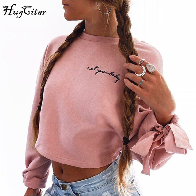Hugcitar letters embroidery Sweatshirt 2017 autumn female Long Sleeve Women crop top pink white solid girl casual Pullover 1