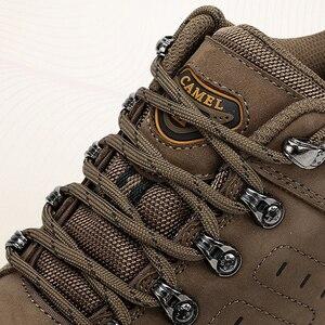 Image 2 - キャメルメンズレディースハイキングシューズ牛革アッパー2019秋耐久性のあるアンチスリップ暖かい屋外登山トレッキングシューズ