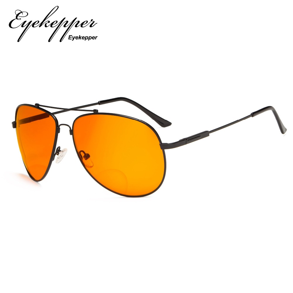 DSSG1802 Eyekepper Memory Frame Blue Blocking Glasses for Sleep Nighttime Eyewear Special Orange Tinted Bifocal Reading