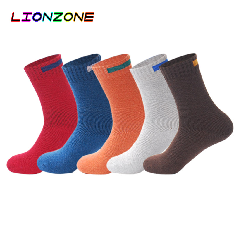 LIONZONE 5Pair/Lot Cashmere Wool   Socks   Men Solid Cloth Sign Design Winter Striped Thick Warm   Socks   Cotton