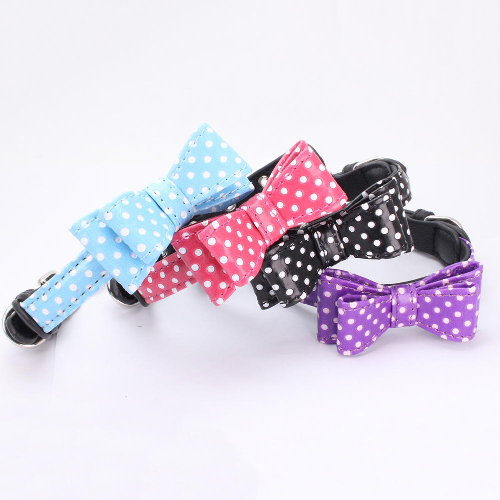 Lovely Stars Dots Bow Tie Pet Collars Dog Cat Adjustable Necklace Decor Gift