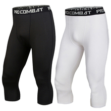 Men Compression Running Tights Pants Sport Wear Jogging 3 4 Pants Sports Leggings Gym font b
