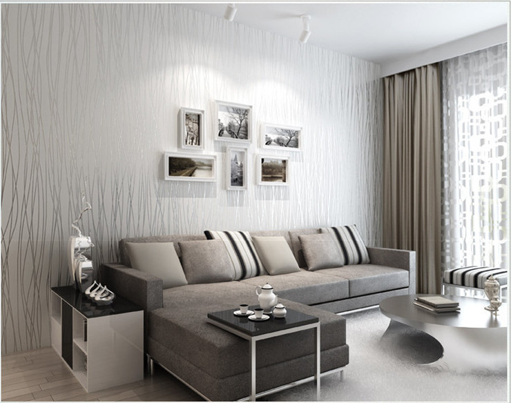 Italian Style Modern 3d Feeling Background Wallpaper For Living Room White And Brown Striped