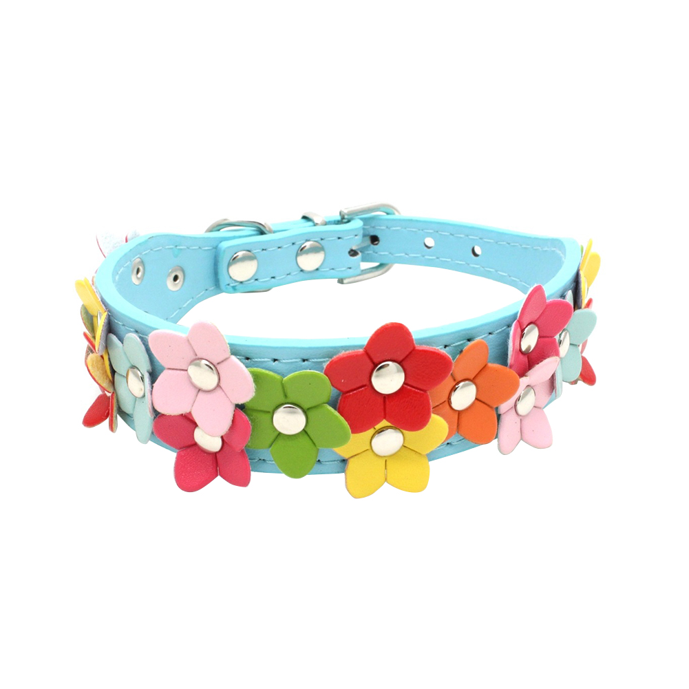 Double Rows Colorful Flowers Adjustable Faux Leather Pet Cat Dog Neck Collar