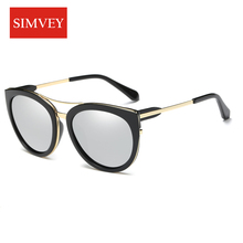Simvey 2017 New Fashion Brand Retro Cat Eye Sunglasses Women Vintage Polarized Sunglasses Double Bridge ALLOY Frame