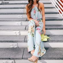 Women Summer Floral Printed Halter Neck Boho Bohemia Floucing Wide Leg Jumpsuit Playsuit Pants Xnxee