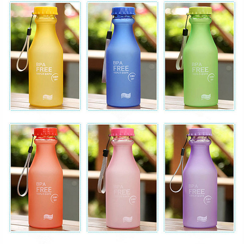 Urijk 550mL High Quality BPA Plastic Frosted Leak-proof Portable Water Bottle for Outdoor Sport Running Camping