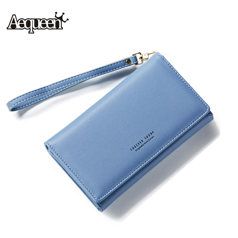AEQUEEN PU Leather Womens Wallet Fashion Letter Printing Long Wallets Lady Coin Purses Card Holders Girls Magic Pouch Fold Purse