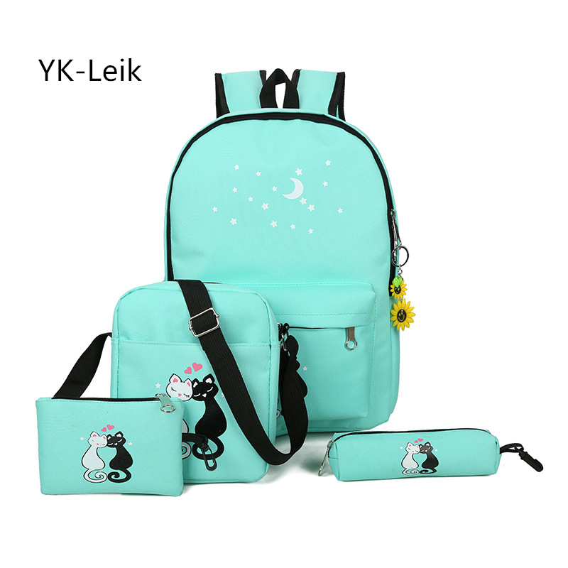 YK-Leik 2017 Korean fashion cute cartoon school bags for the girls Children canvas schoolbag backpack Large capacity backpacks