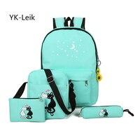 YK Leik 2017 Korean Fashion Cute Cartoon School Bags For The Girls Children Canvas Schoolbag Backpack
