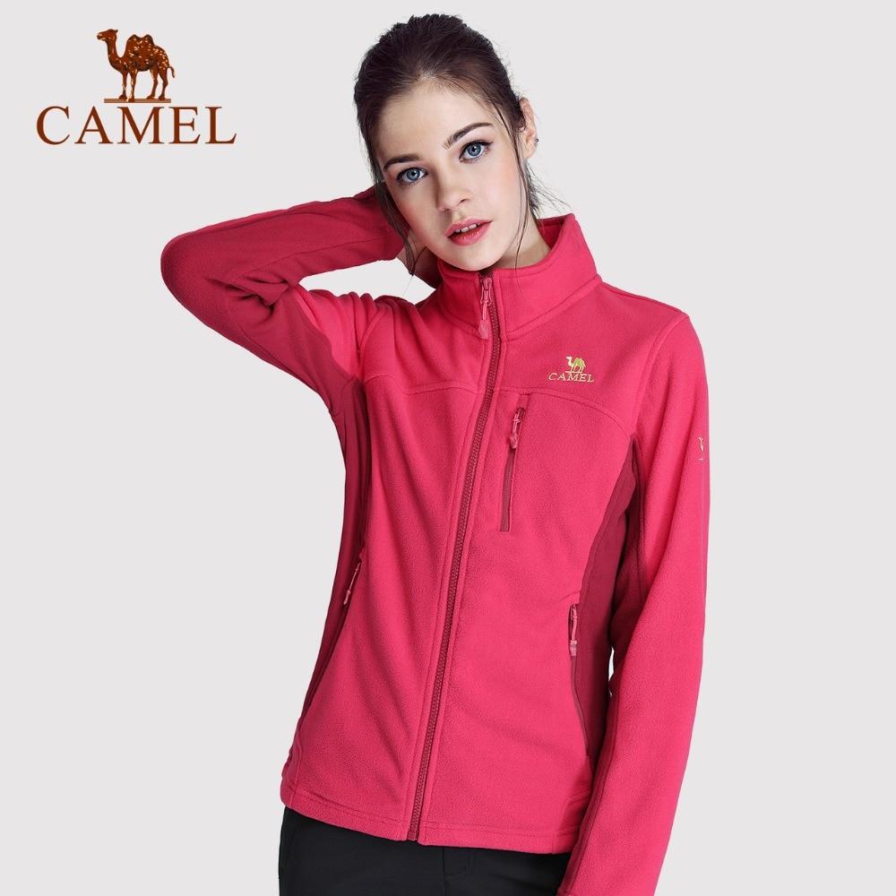 CAMEL Winter Slim Full Fleece Women Fashion Casual Warm   Coat   Solid Zipper Windproof Anti-Static Fleece Softshell Jacket Female