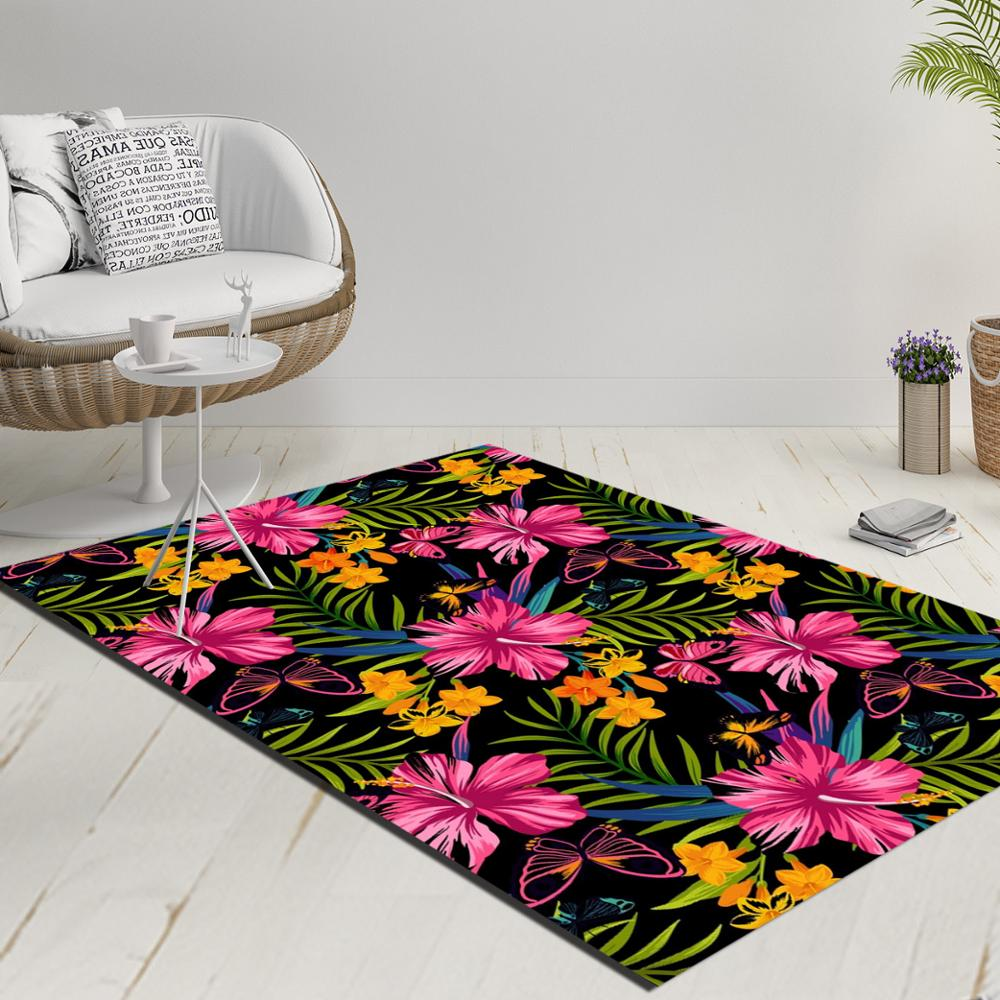Else Black Floor Tropical Pink Yellow Flowers Green Leaves 3d Print Anti Slip Kilim Washable Decorative Kilim Rug Modern Carpet
