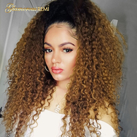 Lace Front Brazilian Human Hair Wig African Kinky Curly Remy Hair Ombre Brown Lace Front Wigs with Baby Hair for Black Women