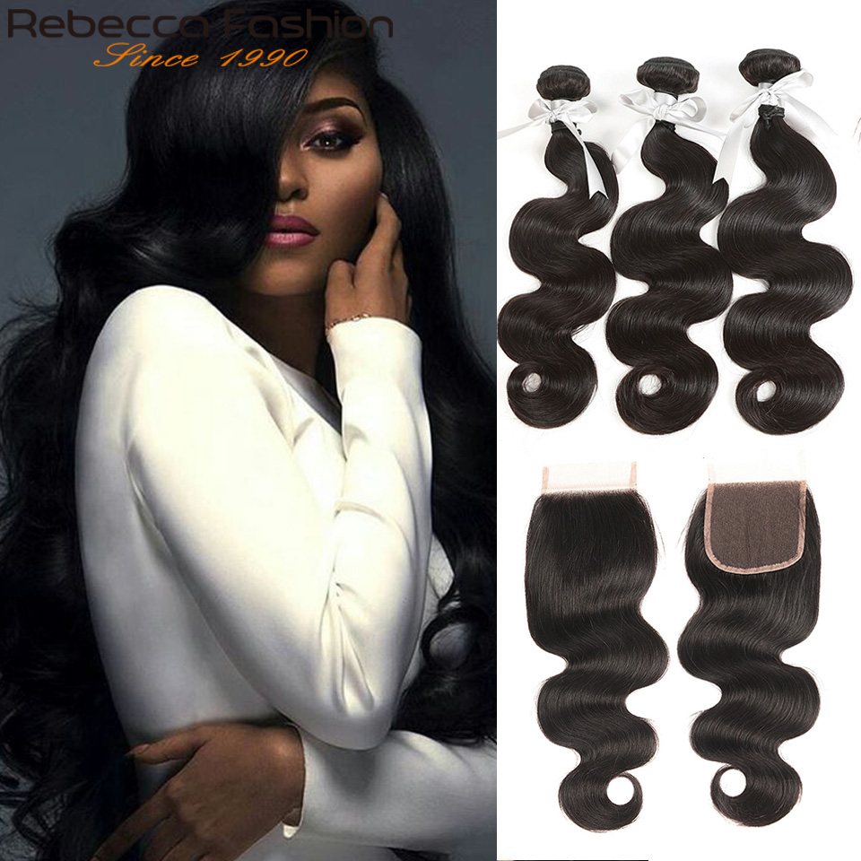 Rebecca Remy Hair Body Wave Human Hair 3 Bundles With Closure Brazilian Hair Weave Bundles With 4x4 Lace Closure Free Shipping