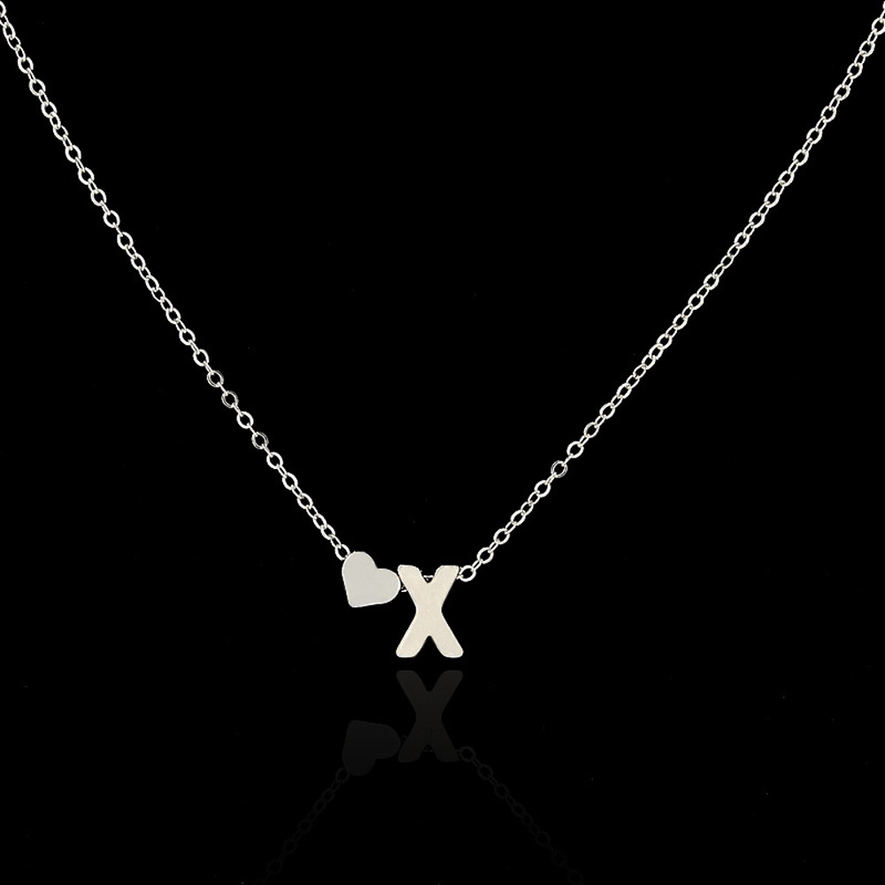 Fashion Tiny Dainty Heart Initial Necklace Personalized Letter Necklace Name Jewelry for women accessories girlfriend gift 7
