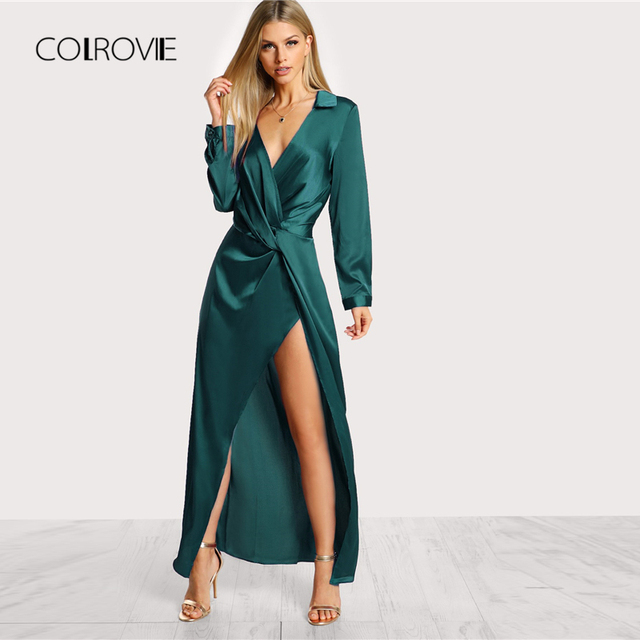 COLROVIE Green Deep V Neck Twist Sexy Dress Women 2018 Autumn Long Sleeve Slim Party Dress Girl Elegant Evening Maxi Dresses