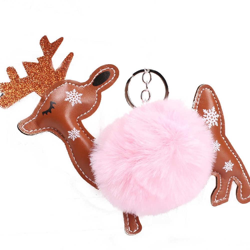 Рождество оленя плюшевые подвеска брелок Ключи кольцо держатель сумка Шарм подарок декор