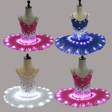 Frauen Professionelle Ballett Rock Kinder Schwan Ballett LED Beleuchten Tutu Kleid 4 farben 90 170cm Mädchen Heißer bohren tutu rock
