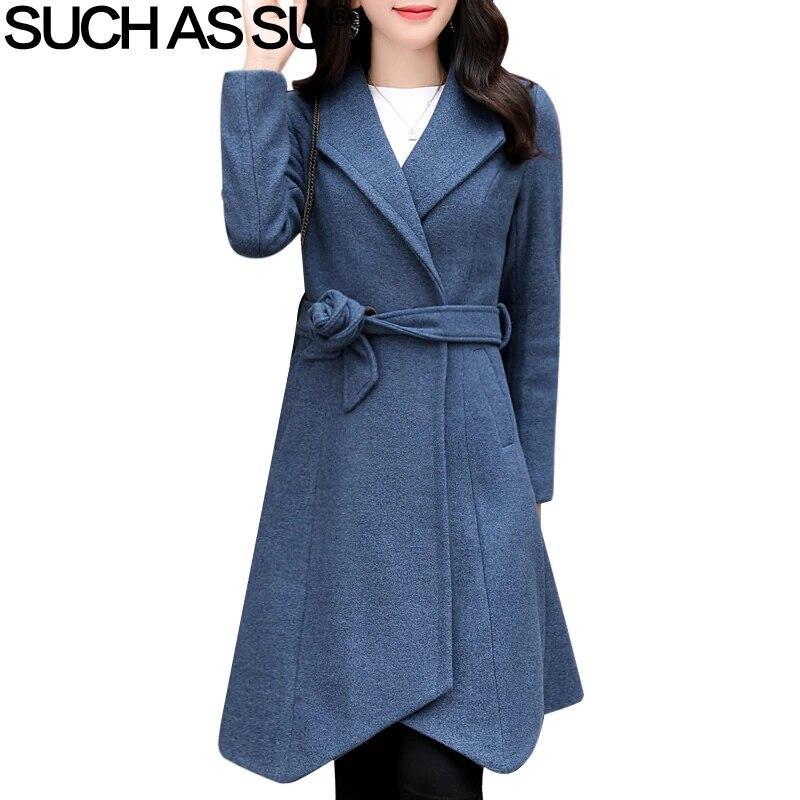 Hiver laine manteau femmes vêtements 2018 nouveau 5 couleur asymétrique Turn-Down à lacets longs manteaux femme M-3XL grande taille mince automne manteau