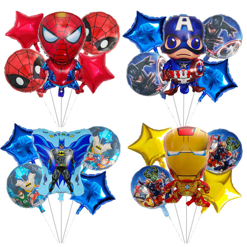 5pcs Superhero Spiderman Avengers Batman America Foil Balloons Birthday Party Supplies Superman Air balloon Children's Day Toys