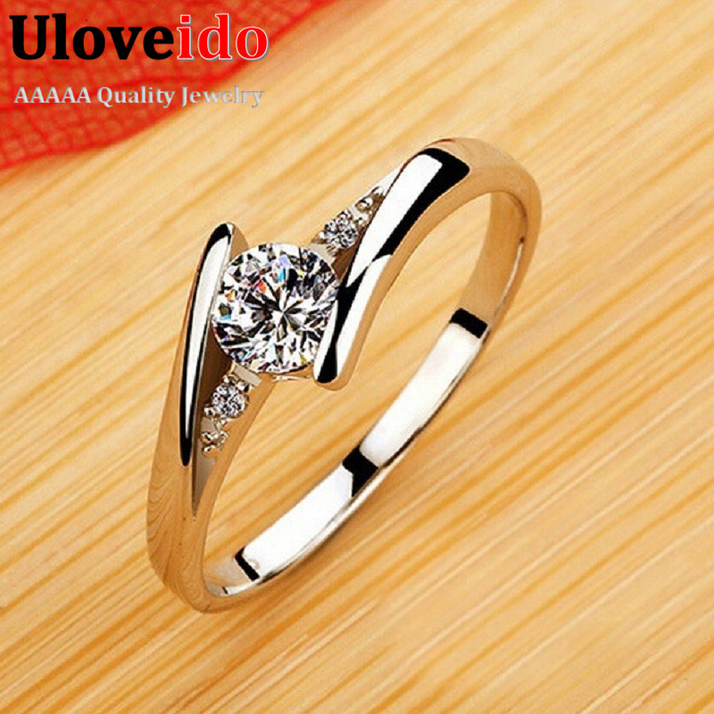Uloveido Vintage Wedding Rings for Women Silver Rose Gold Color - Fashion Jewelry