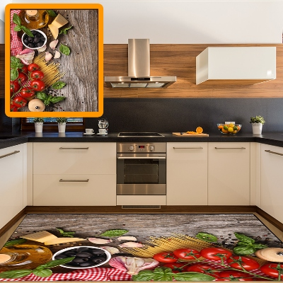 Else Wooden Breakfast Table Tomato Black Olives 3d Print Non Slip Microfiber Kitchen Modern Decorative Washable Area Rug Mat