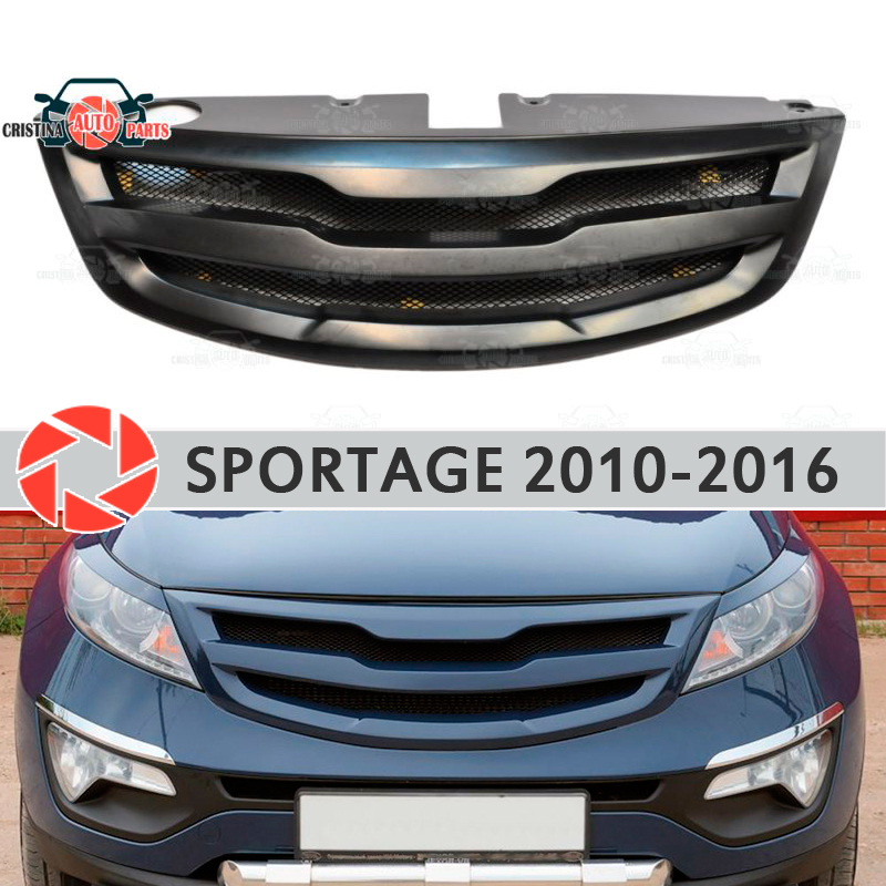 Radiator Grille for Kia Sportage 2010-2016 plastic ABS accessories protection car styling front decoration tuning with mesh radiator grille case for honda civic 4d 2006 2008 2010 abs plastic tuning decor design sports styles car styling car accessories