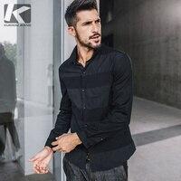 KUEGOU Mode NOUVELLE Automne Hommes chemise noir Casual Homme Hommes Tops shirt hommes manches courtes revers manteau 3126
