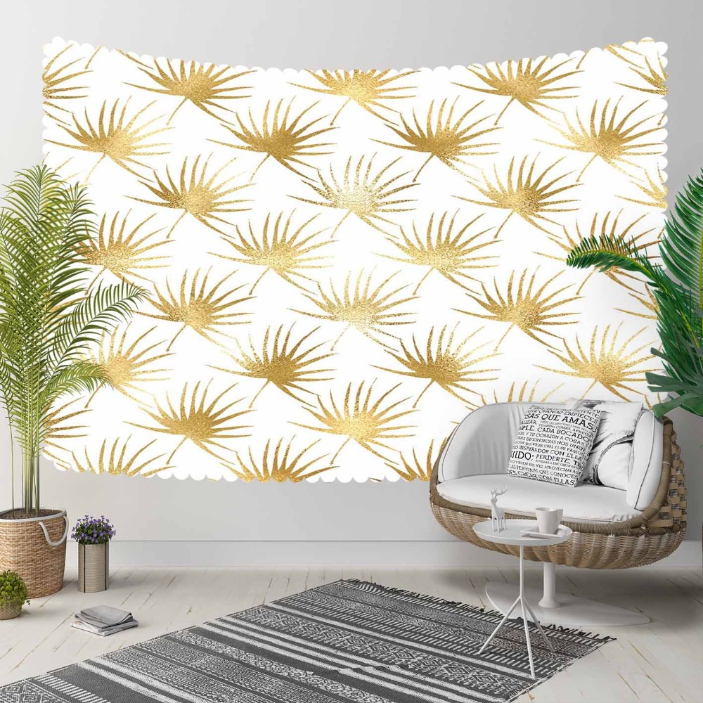 Else White Floor On Golden Yellow Floral Leaves 3D Print Decorative Hippi Bohemian Wall Hanging Landscape Tapestry Wall Art