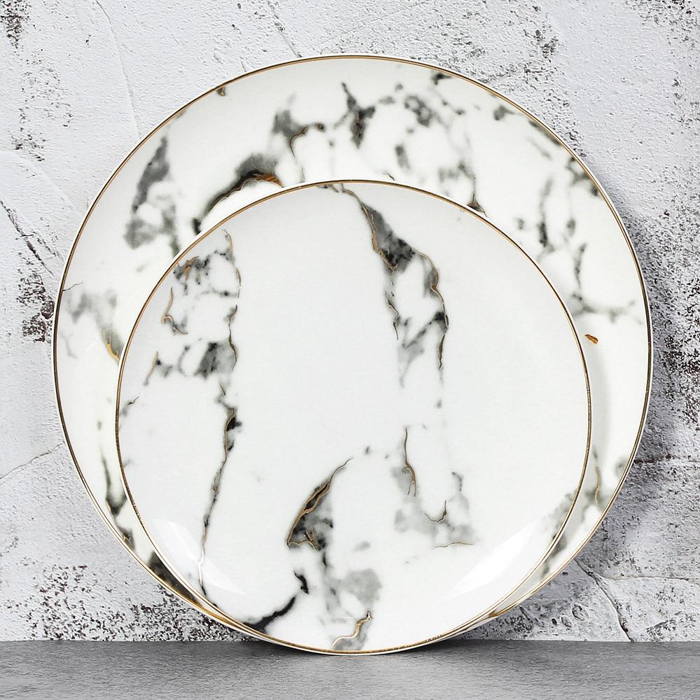 Assiette européenne en marbre céramique marbre or   Incrustation ronde, assiette en porcelaine, Steak Dessert assiettes en porcelaine, assiettes de cuisine pour la maison, service de vaisselle 4 pièces